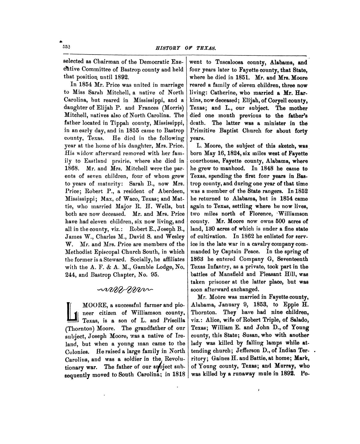 History of Texas, together with a biographical history of Milam, Williamson, Bastrop, Travis, Lee and Burleson counties : containing a concise history of the state, with portraits and biographies of prominent citizens of the above named counties, and personal histories of many of the early settlers and leading families                                                                                                      552