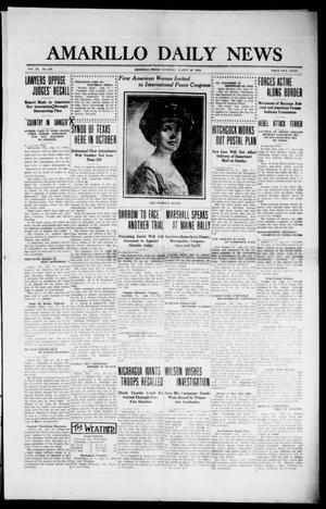 Primary view of object titled 'Amarillo Daily News (Amarillo, Tex.), Vol. 3, No. 256, Ed. 1 Wednesday, August 28, 1912'.