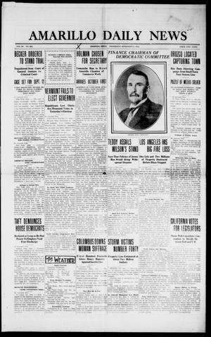 Primary view of object titled 'Amarillo Daily News (Amarillo, Tex.), Vol. 3, No. 262, Ed. 1 Wednesday, September 4, 1912'.