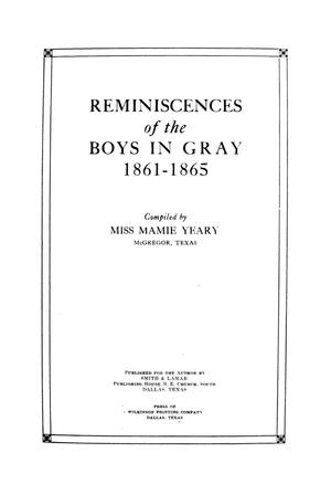 Primary view of object titled 'Reminiscences of the boys in gray, 1861-1865 / compiled by Mamie Yeary.'.