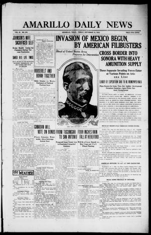 Primary view of object titled 'Amarillo Daily News (Amarillo, Tex.), Vol. 3, No. 270, Ed. 1 Friday, September 13, 1912'.