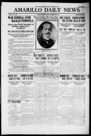 Primary view of object titled 'Amarillo Daily News (Amarillo, Tex.), Vol. 3, No. 300, Ed. 1 Friday, October 18, 1912'.