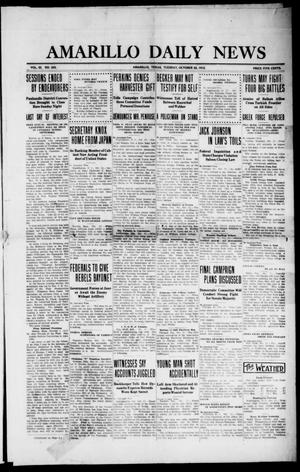 Primary view of object titled 'Amarillo Daily News (Amarillo, Tex.), Vol. 3, No. 303, Ed. 1 Tuesday, October 22, 1912'.