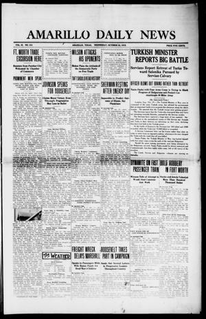 Primary view of object titled 'Amarillo Daily News (Amarillo, Tex.), Vol. 3, No. 310, Ed. 1 Wednesday, October 30, 1912'.