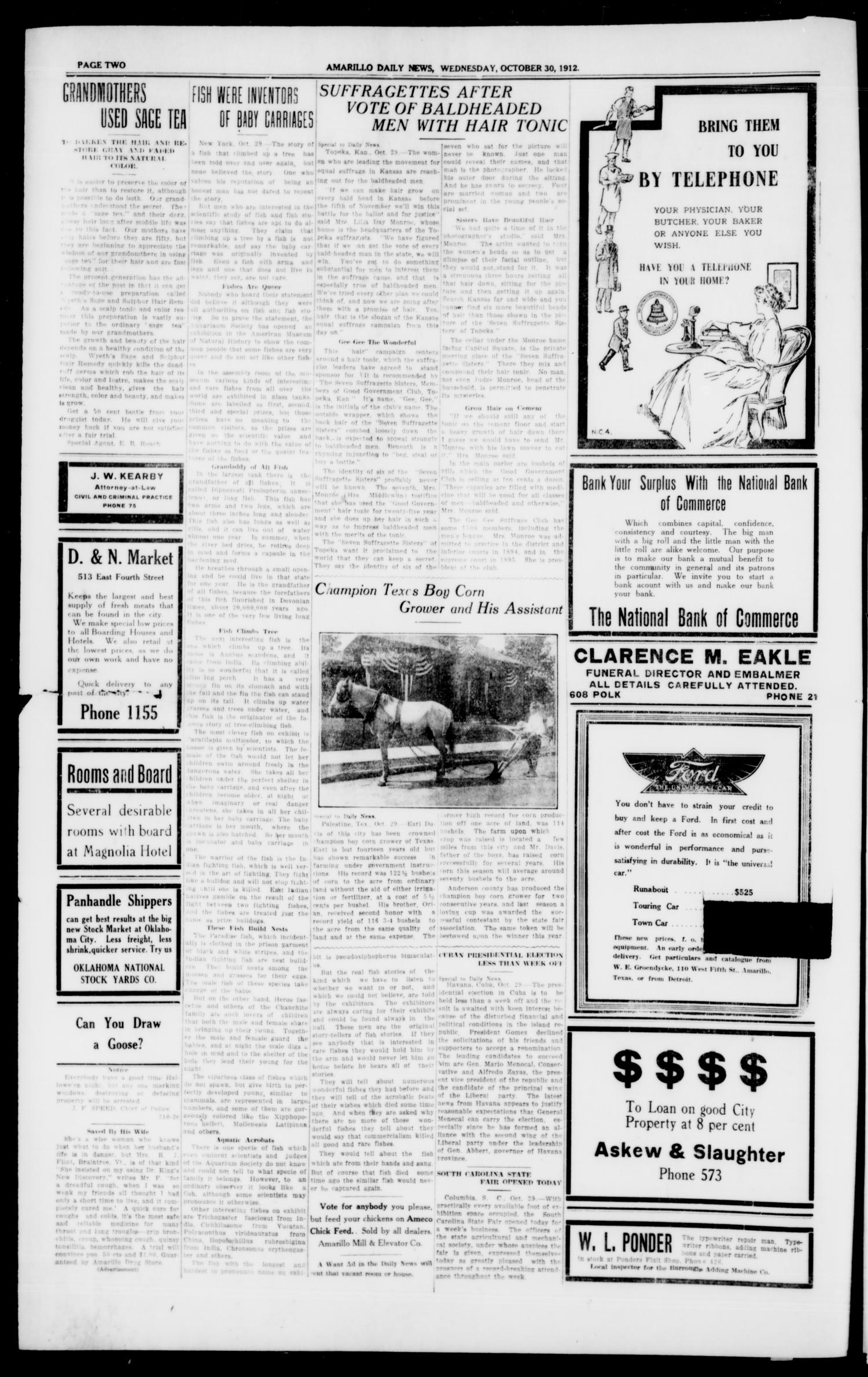 Amarillo Daily News (Amarillo, Tex.), Vol. 3, No. 310, Ed. 1 Wednesday, October 30, 1912                                                                                                      [Sequence #]: 2 of 8