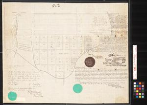 [San Antonio, Texas. Plat of Lands in the Northern Portion of the City surrounding the Public Square, bounded on the west by San Pedro Creek and on the South and East by the upper Labor Ditch.]