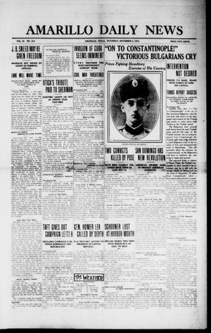 Primary view of object titled 'Amarillo Daily News (Amarillo, Tex.), Vol. 3, No. 313, Ed. 1 Saturday, November 2, 1912'.