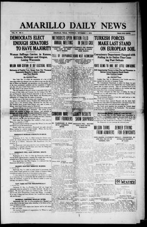 Primary view of object titled 'Amarillo Daily News (Amarillo, Tex.), Vol. 4, No. 4, Ed. 1 Thursday, November 7, 1912'.