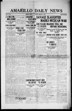 Primary view of object titled 'Amarillo Daily News (Amarillo, Tex.), Vol. 4, No. 91, Ed. 1 Sunday, February 16, 1913'.