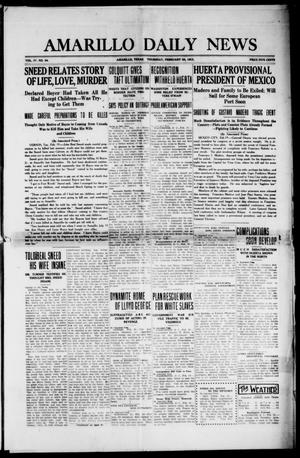 Primary view of object titled 'Amarillo Daily News (Amarillo, Tex.), Vol. 4, No. 94, Ed. 1 Thursday, February 20, 1913'.