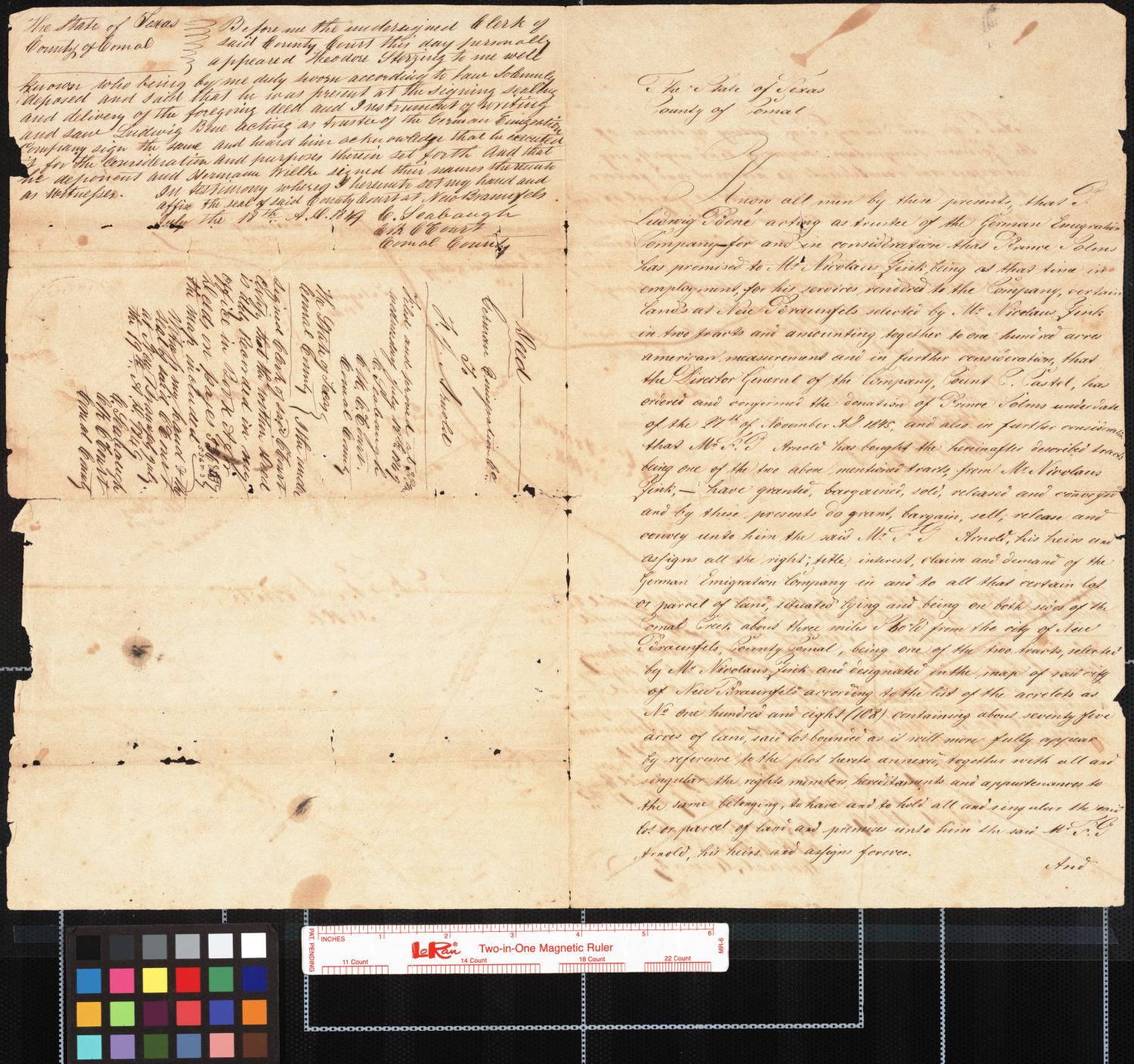 [Manuscript Map and Deed, German Emigration Company to F. T. Arnold]                                                                                                      [Sequence #]: 1 of 2
