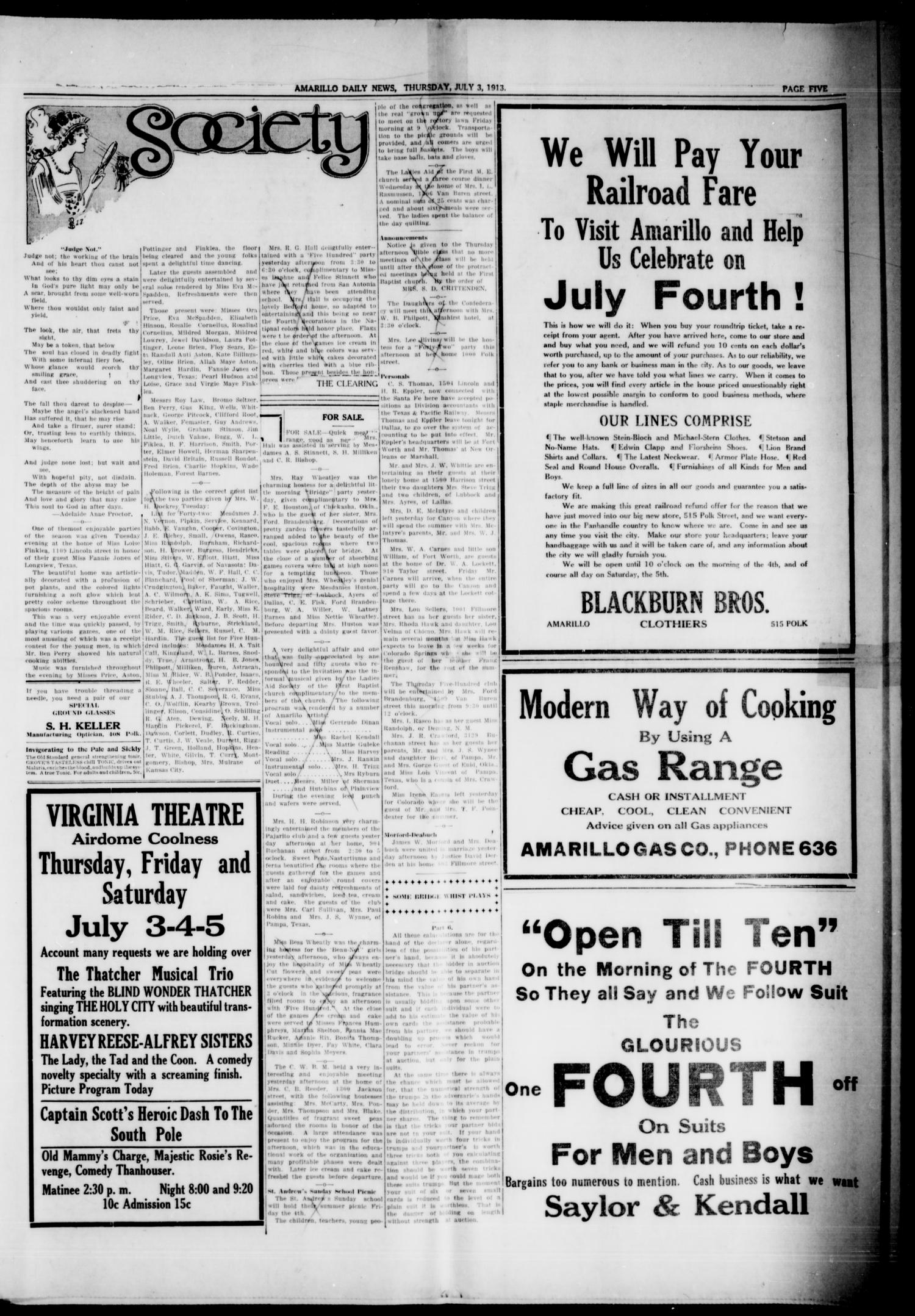 Amarillo Daily News (Amarillo, Tex.), Vol. 4, No. 208, Ed. 1 Thursday, July 3, 1913                                                                                                      [Sequence #]: 3 of 8
