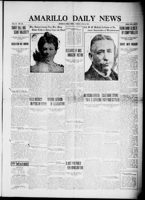 Primary view of object titled 'Amarillo Daily News (Amarillo, Tex.), Vol. 4, No. 212, Ed. 1 Tuesday, July 8, 1913'.