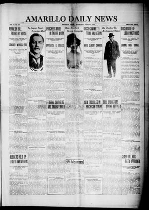 Primary view of object titled 'Amarillo Daily News (Amarillo, Tex.), Vol. 4, No. 237, Ed. 1 Wednesday, August 6, 1913'.
