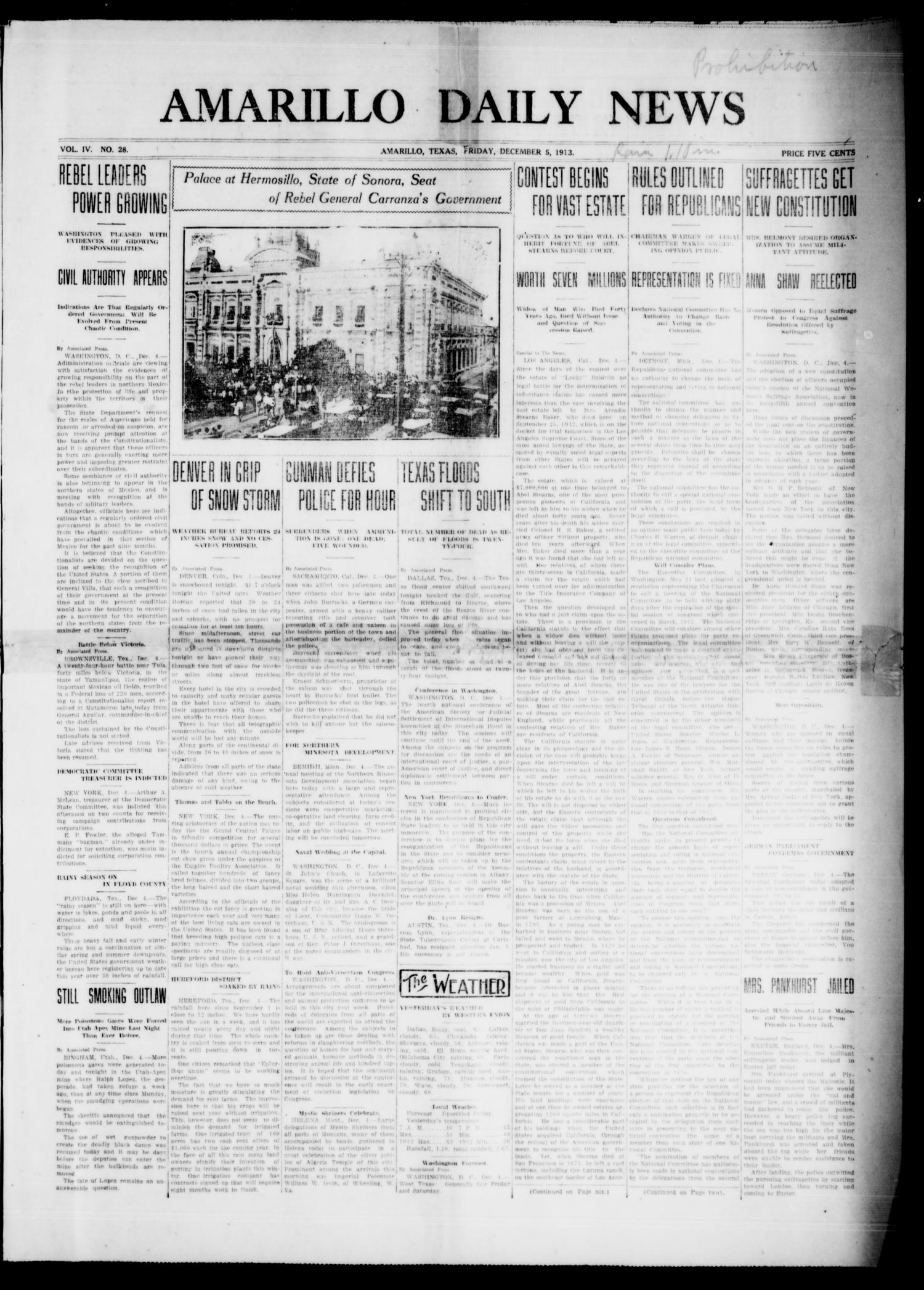 Amarillo Daily News (Amarillo, Tex.), Vol. 4, No. 28, Ed. 1 Friday, December 5, 1913                                                                                                      [Sequence #]: 1 of 8