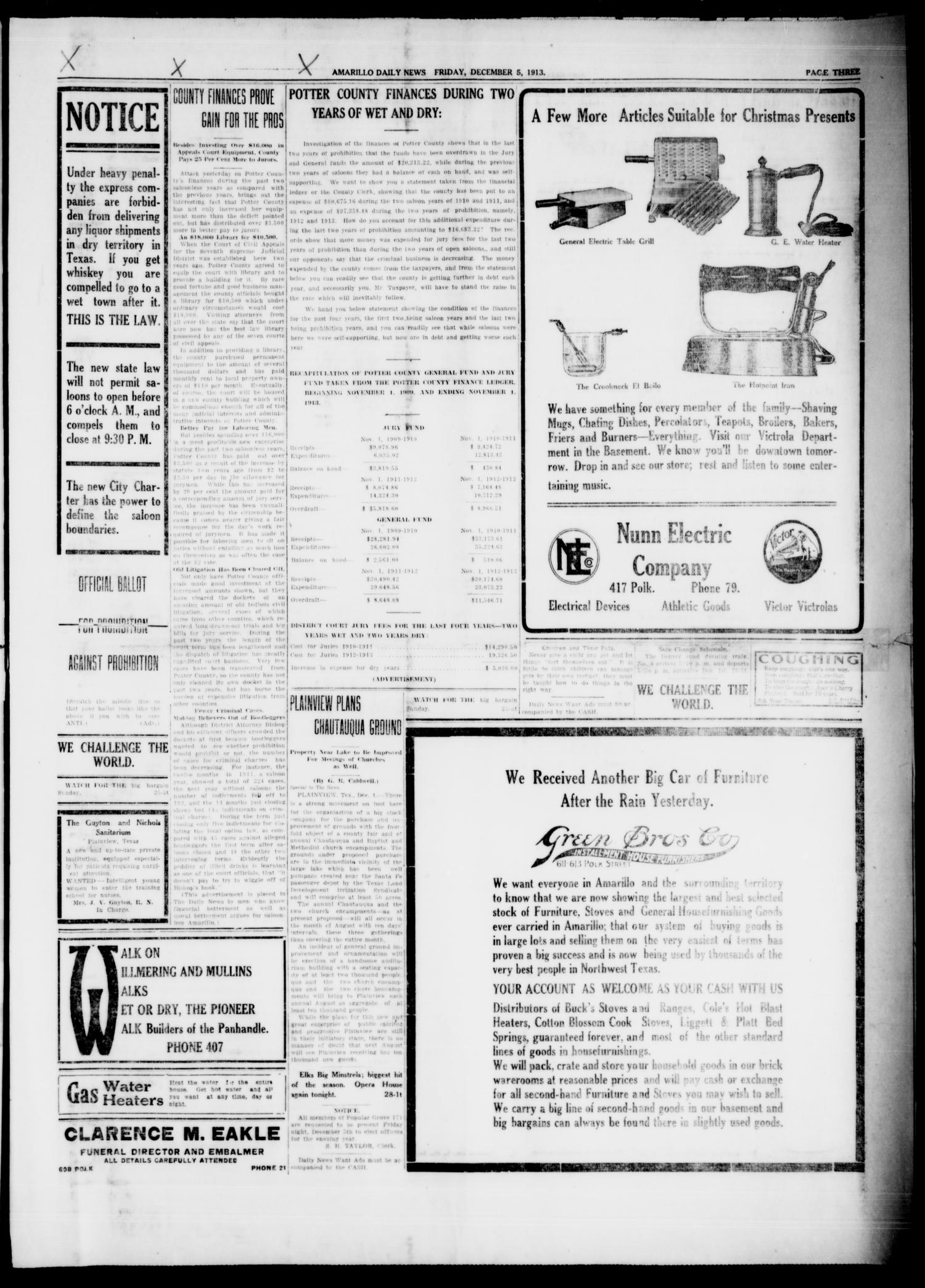 Amarillo Daily News (Amarillo, Tex.), Vol. 4, No. 28, Ed. 1 Friday, December 5, 1913                                                                                                      [Sequence #]: 3 of 8