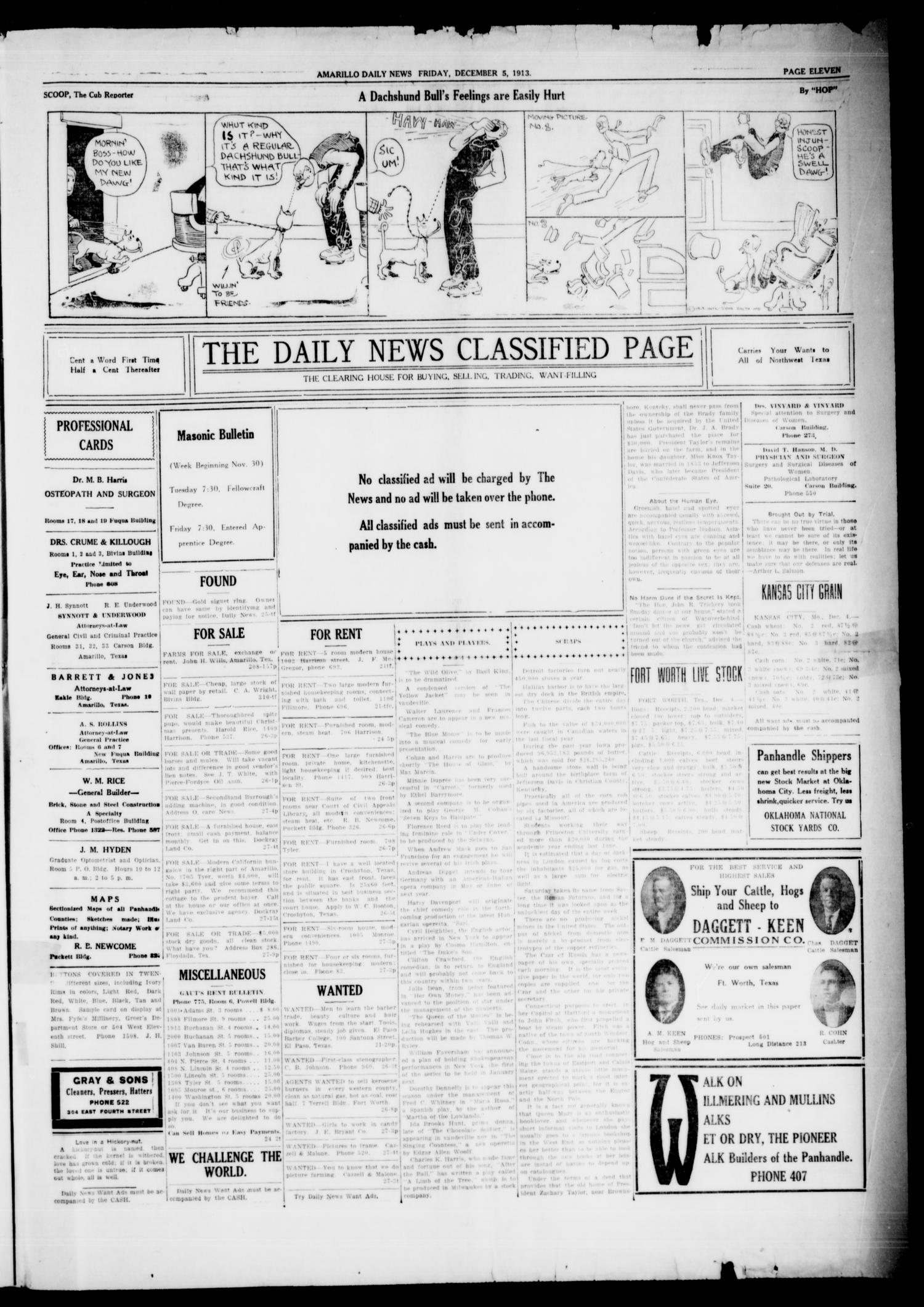 Amarillo Daily News (Amarillo, Tex.), Vol. 4, No. 28, Ed. 1 Friday, December 5, 1913                                                                                                      [Sequence #]: 7 of 8