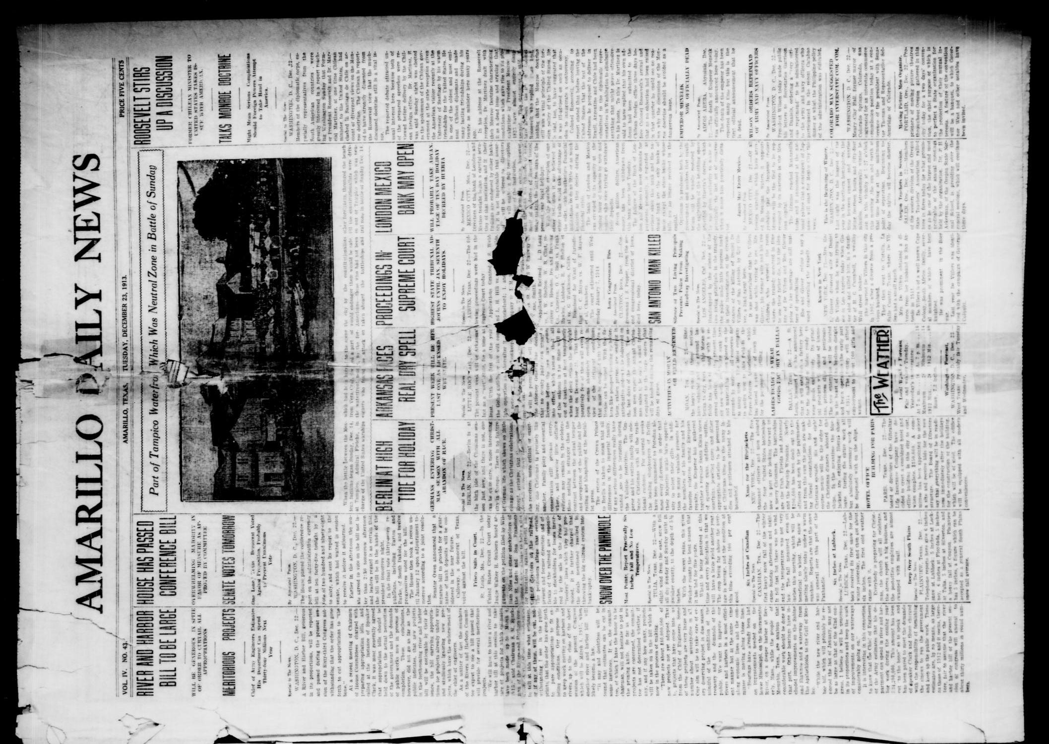Amarillo Daily News (Amarillo, Tex.), Vol. 4, No. 43, Ed. 1 Tuesday, December 23, 1913                                                                                                      [Sequence #]: 1 of 4