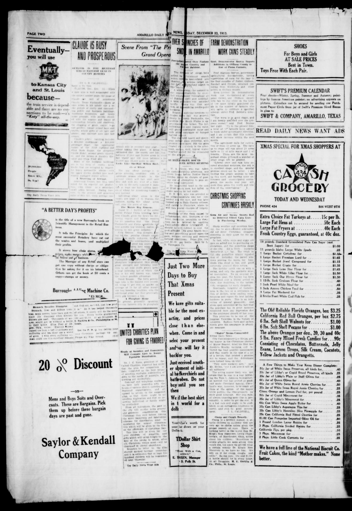 Amarillo Daily News (Amarillo, Tex.), Vol. 4, No. 43, Ed. 1 Tuesday, December 23, 1913                                                                                                      [Sequence #]: 4 of 4