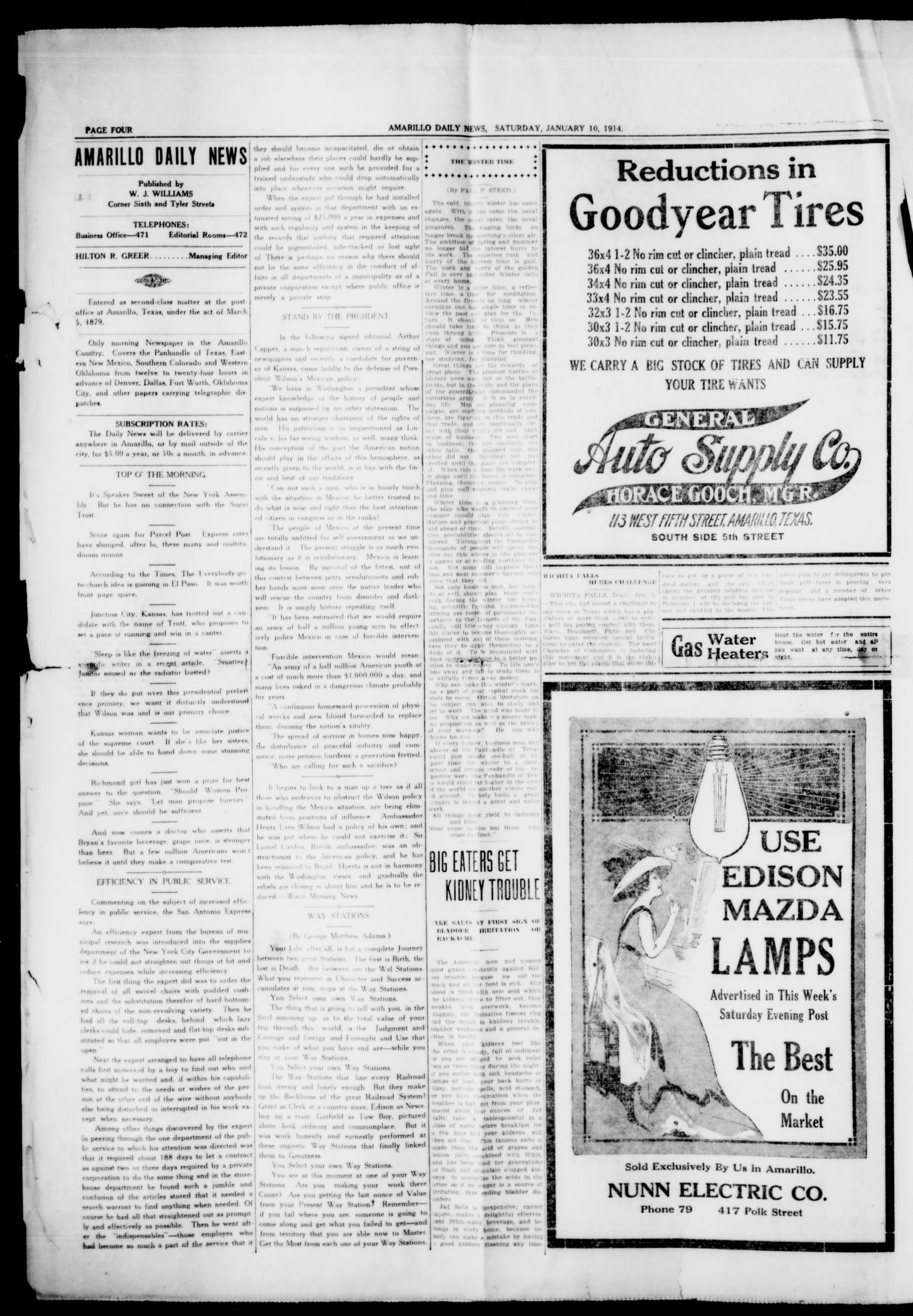 Amarillo Daily News (Amarillo, Tex.), Vol. 4, No. 59, Ed. 1 Saturday, January 10, 1914                                                                                                      [Sequence #]: 4 of 8