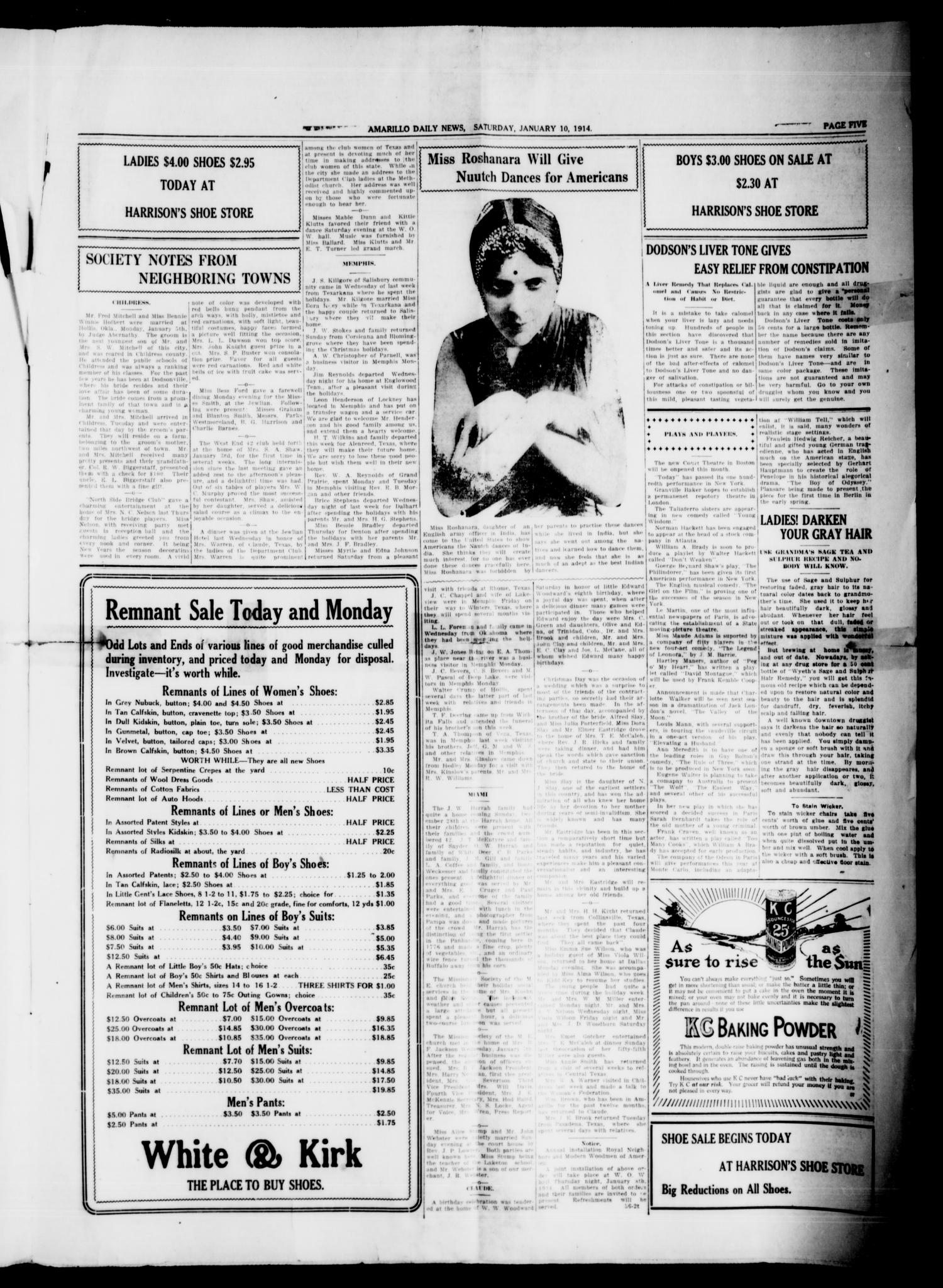Amarillo Daily News (Amarillo, Tex.), Vol. 4, No. 59, Ed. 1 Saturday, January 10, 1914                                                                                                      [Sequence #]: 5 of 8