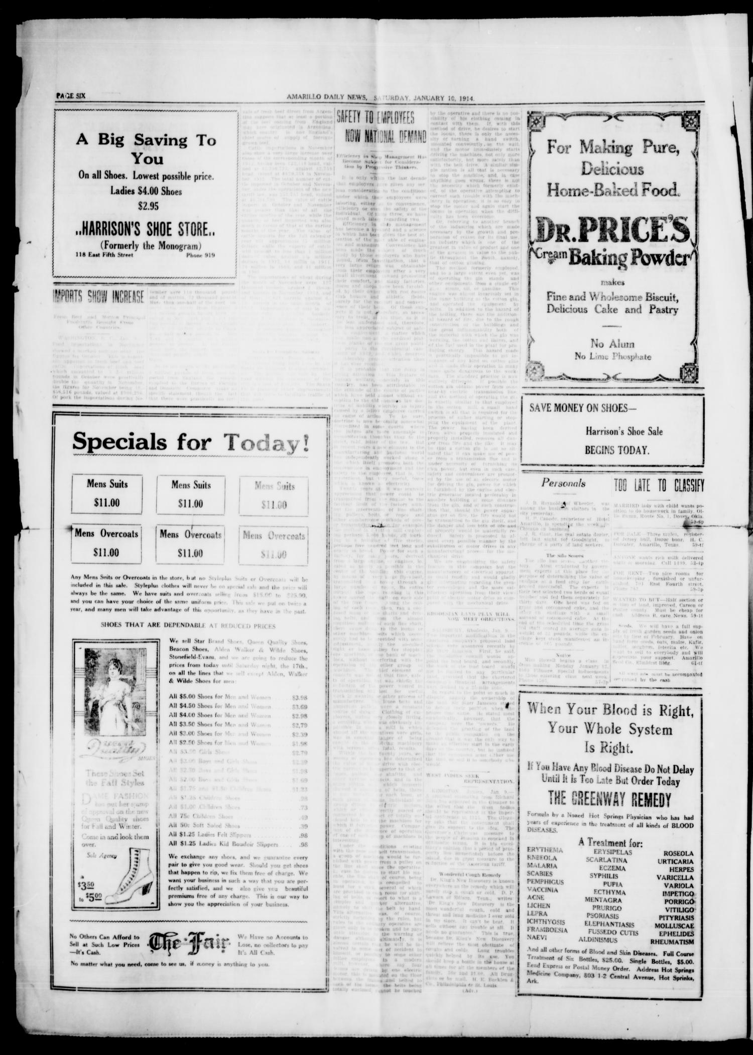 Amarillo Daily News (Amarillo, Tex.), Vol. 4, No. 59, Ed. 1 Saturday, January 10, 1914                                                                                                      [Sequence #]: 6 of 8