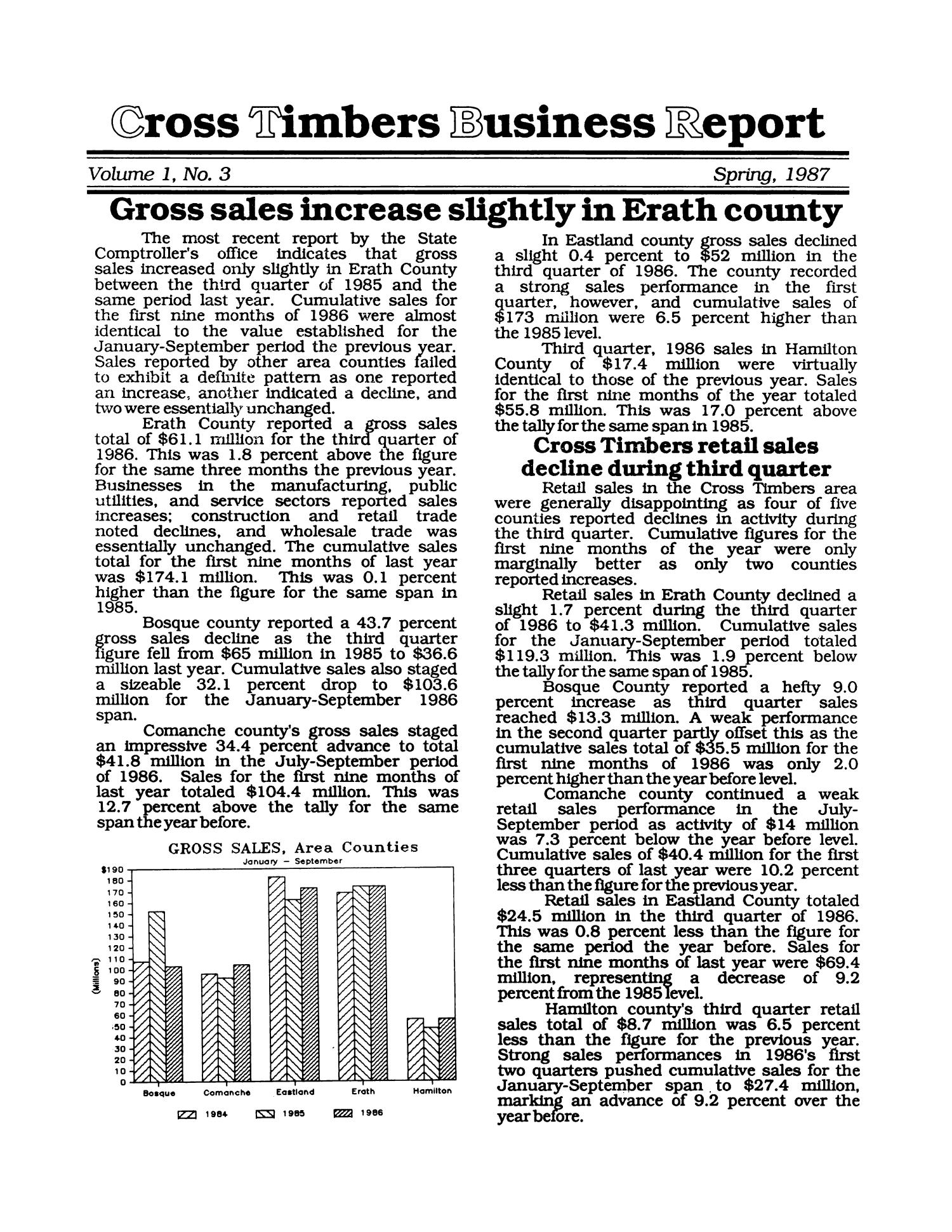 Cross Timbers Business Report, Volume 1, Number 3, Spring 1987                                                                                                      1