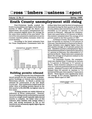 Primary view of object titled 'Cross Timbers Business Report, Volume 2, Number 3, Spring 1988'.