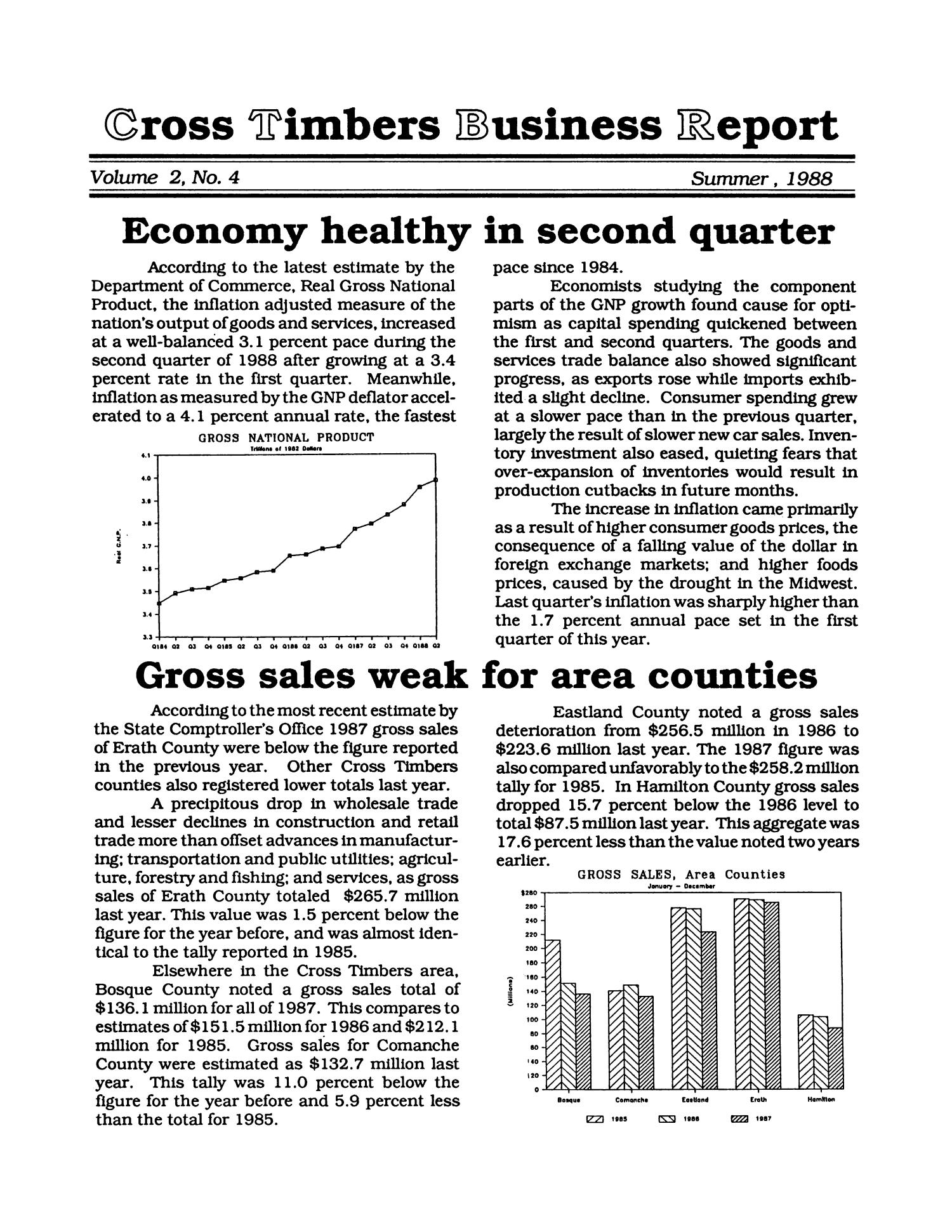 Cross Timbers Business Report, Volume 2, Number 4, Summer 1988                                                                                                      1