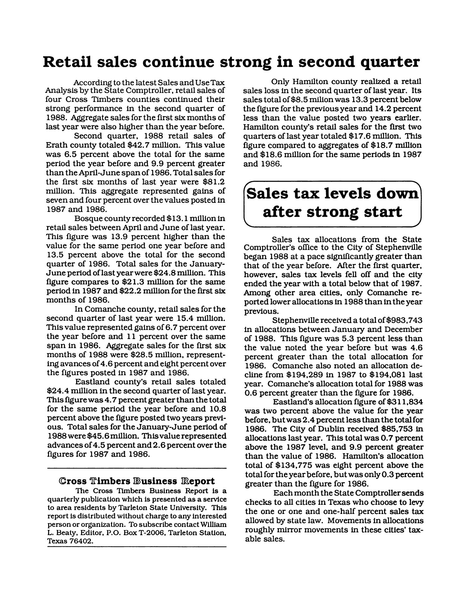 Cross Timbers Business Report, Volume 3, Number 1, Winter 1988                                                                                                      2