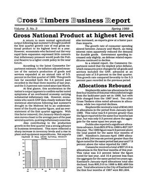 Primary view of object titled 'Cross Timbers Business Report, Volume 3, Number 3, Spring 1989'.
