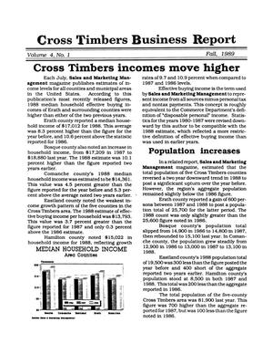 Primary view of object titled 'Cross Timbers Business Report, Volume 4, Number 1, Fall 1989'.