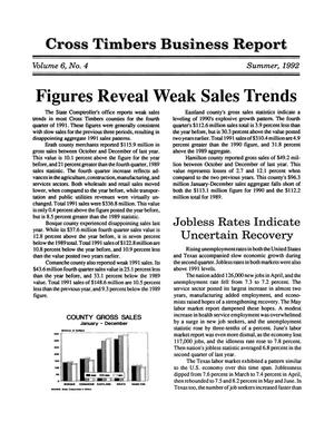Primary view of object titled 'Cross Timbers Business Report, Volume 6, Number 4, Summer 1992'.