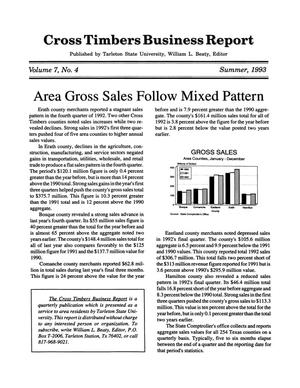 Primary view of object titled 'Cross Timbers Business Report, Volume 7, Number 4, Summer 1993'.