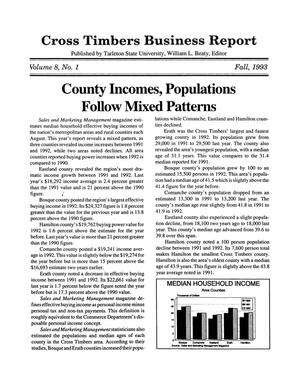 Cross Timbers Business Report, Volume 8, Number 1, Fall 1993
