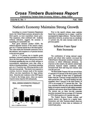 Primary view of object titled 'Cross Timbers Business Report, Volume 9, Number 1, Fall 1994'.