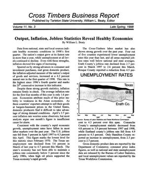 Primary view of object titled 'Cross Timbers Business Report, Volume 11, Number 3, Spring 1998'.