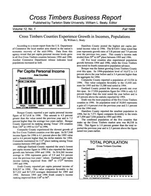 Primary view of object titled 'Cross Timbers Business Report, Volume 12, Number 1, Fall 1998'.