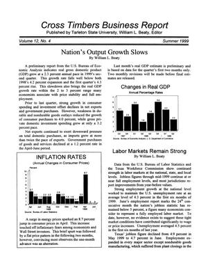 Primary view of object titled 'Cross Timbers Business Report, Volume 12, Number 4, Summer 1999'.