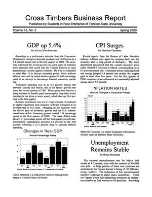 Primary view of object titled 'Cross Timbers Business Report, Volume 13, Number 3, Spring 2000'.