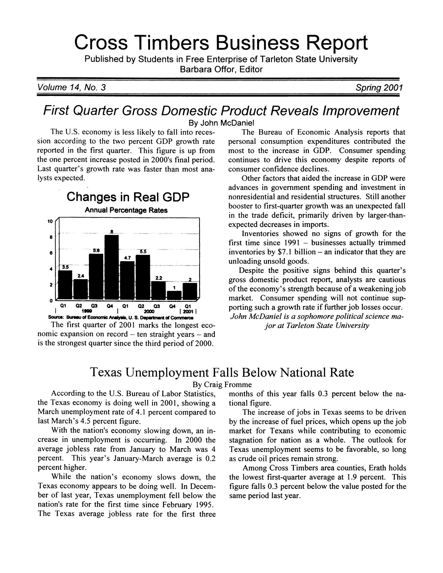Cross Timbers Business Report, Volume 14, Number 3, Spring 2001                                                                                                      1