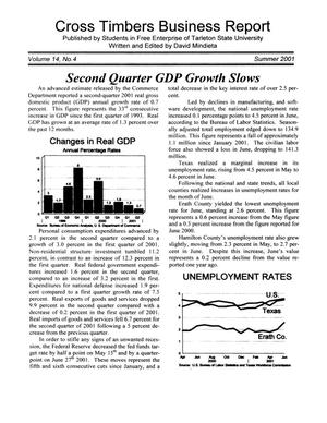 Primary view of object titled 'Cross Timbers Business Report, Volume 14, Number 4, Summer 2001'.