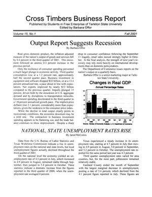 Primary view of object titled 'Cross Timbers Business Report, Volume 15, Number 1, Fall 2001'.