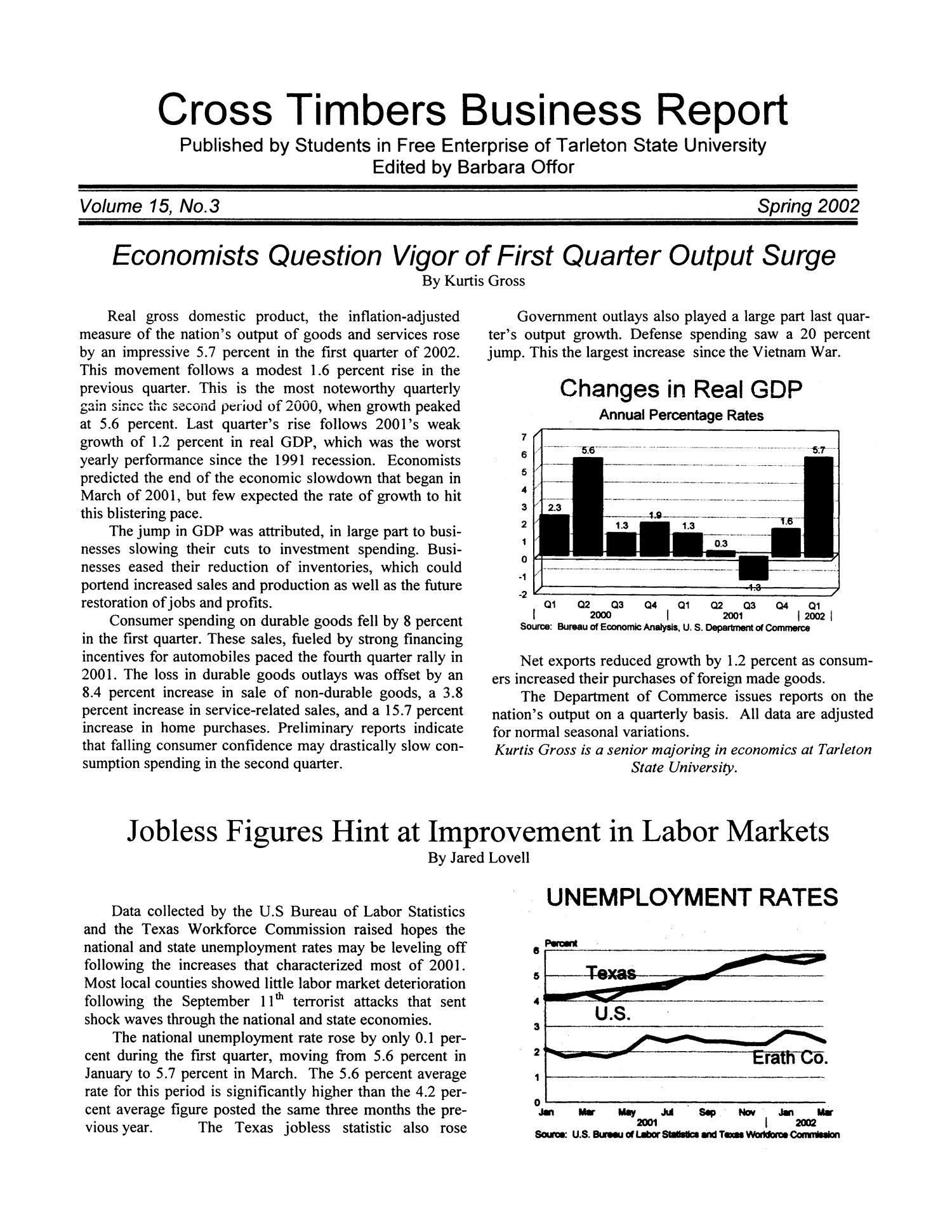 Cross Timbers Business Report, Volume 15, Number 3, Spring 2002                                                                                                      1