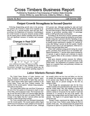 Primary view of object titled 'Cross Timbers Business Report, Volume 16, Number 4, Summer 2003'.