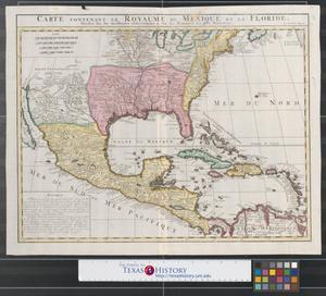 Primary view of Carte contenant le Royaume du Mexique et la Floride: dressez sur les meilleures observations & sur les Mémoires les plus Nouveaux.
