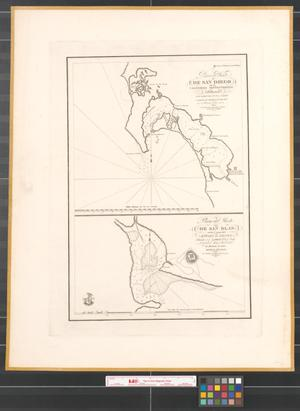Primary view of Plano del Puerto de San Diego de la California septentrional: situado en la latitud norte 32° 39 y longitud occidental del meridiano de Cadiz 110° 45 ; Plano del Puerto de San Blas en las costas del Estado de Xalisco : situado en la latitud 21° 30 norte, longitud 98 [degree] 41 ocidental del meridiano de Cadiz.