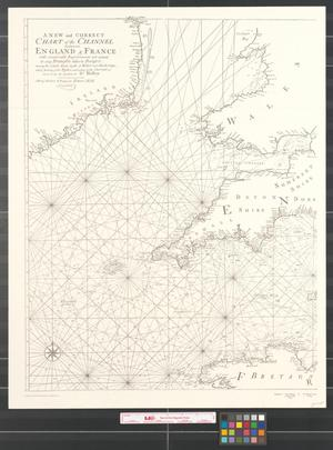 Primary view of object titled 'A new and correct chart of the channel between England & France : with considerable improvements not extant in any draughts hitherto published ; shewing the sands, shoals, depths of water and anchorage, with ye flowing of the tydes, and setting of the current [Sheet 1].'.