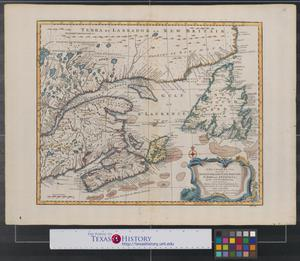 Primary view of A new & accurate map of the Islands of Newfoundland, Cape Breton, St. John and Anticosta: together with the neighbouring countries of Nova Scotia, Canada &c. Drawn from the most approved modern maps and charts, and regulated by astronl. observatns.