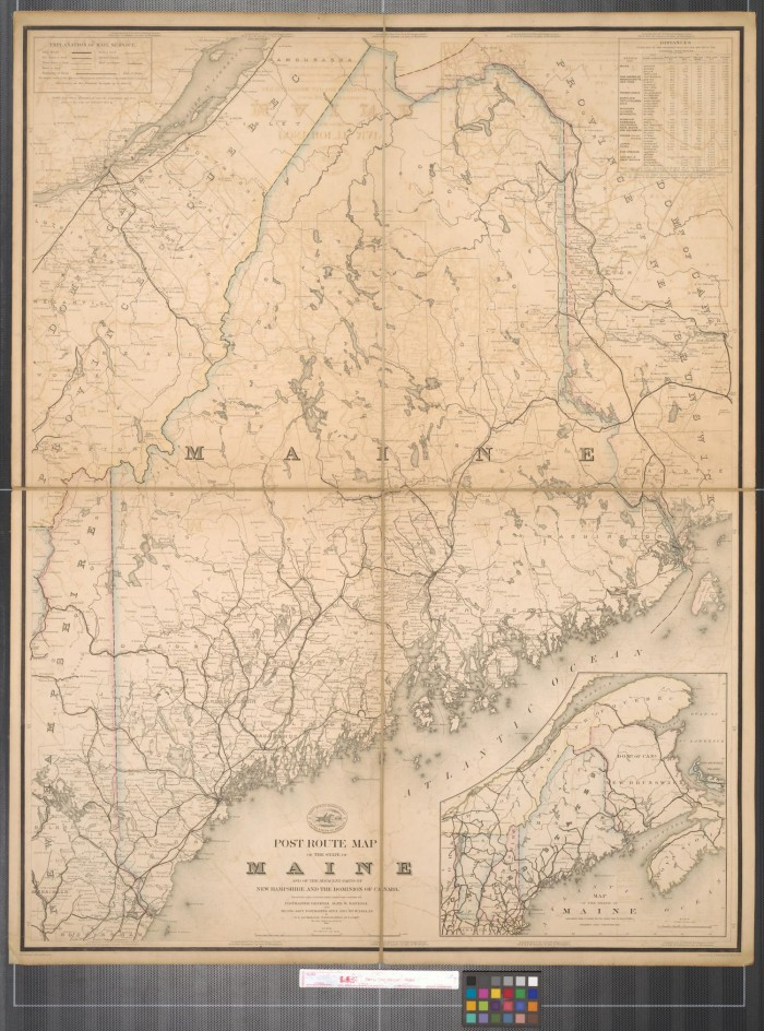 Post route map of the state of Maine and of the adjacent parts of ...